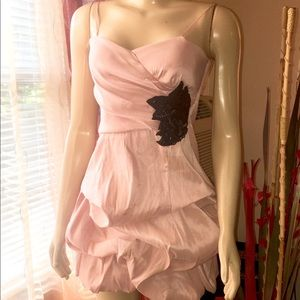 Strapless, light pink mini bubble dress